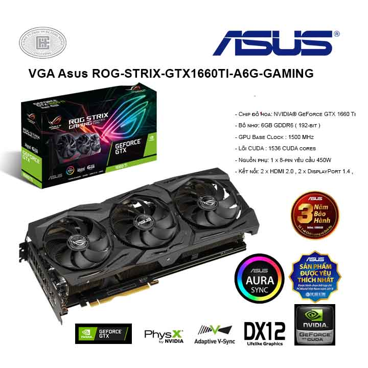 VGA Asus ROG-STRIX-GTX1660TI-A6G-GAMING