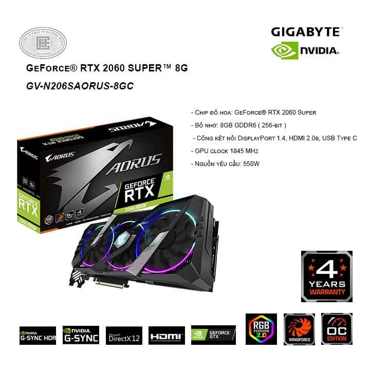 Card màn hình / VGA GIGABYTE GeForce  RTX 2060 SUPER 8G