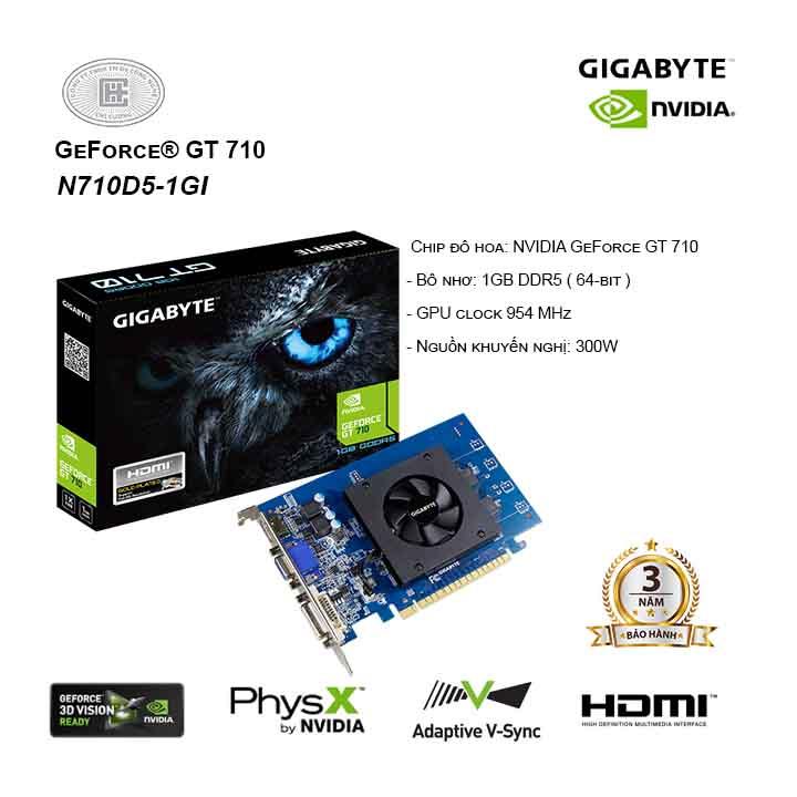 Card màn hình / VGA GIGABYTE GeForce GT 710 GV-N710D5-1GI