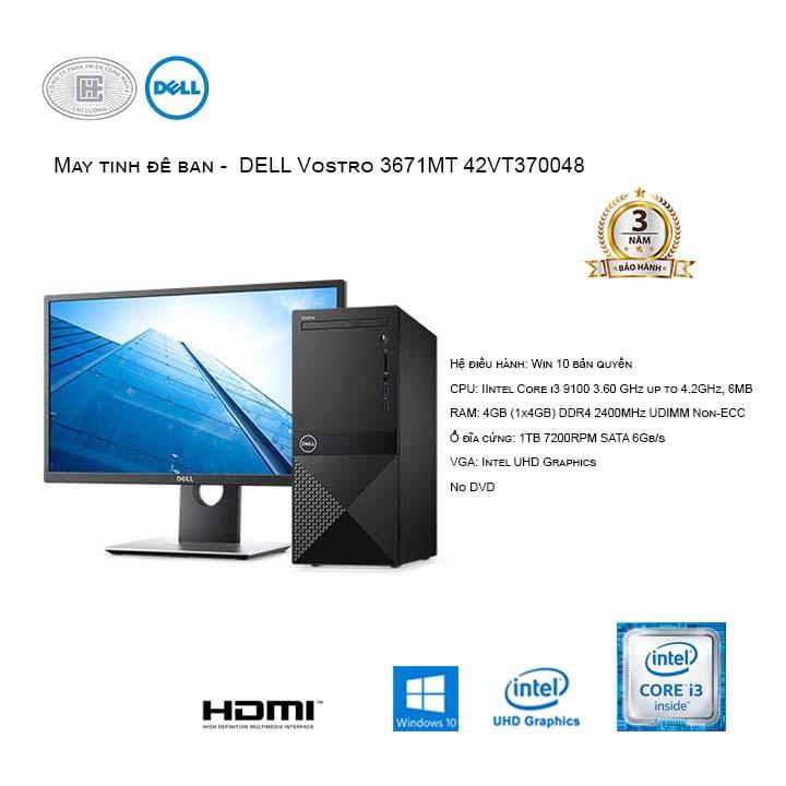 Máy tính để bàn - DELL Vostro 3671MT 42VT370048 (Intel Core i3-9100/4GB/1TB HDD/Windows 10 Home 64-bit - No DVD)