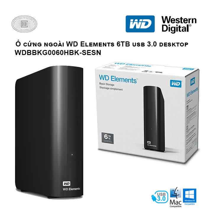 Ổ cứng di động HDD Western Digital Elements 6TB USB 3.0 - WDBBKG0060HBK-SESN (Đen)