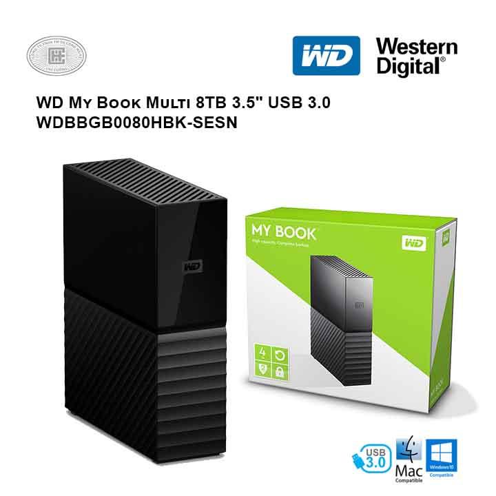 Ổ cứng di động HDD Western Digital My Book Multi 8TB USB 3.0 - WDBBGB0080HBK-SESN (Đen)