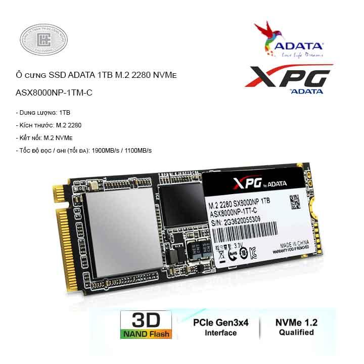 Ổ cứng SSD ADATA 1TB M.2 2280 NVMe - ASX8000NP-1TM-C