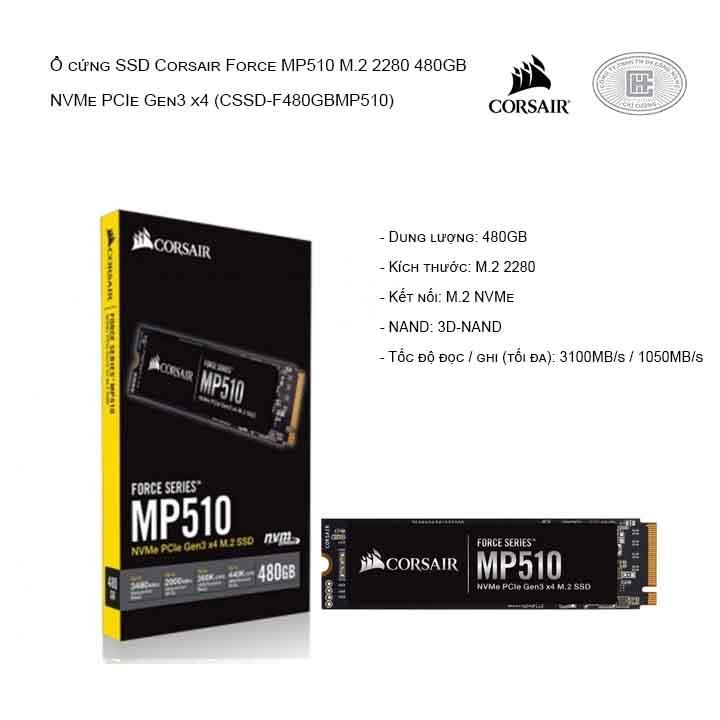 Ổ cứng SSD Corsair Force MP510 M.2 2280 480GB NVMe PCIe Gen3 x4 (CSSD-F480GBMP510)