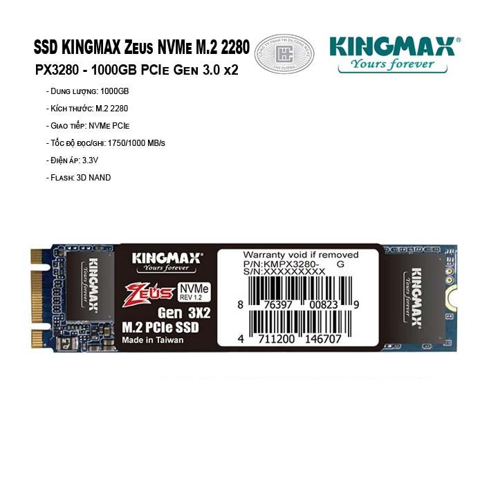 Ổ cứng SSD KINGMAX Zeus 1000GB PX3280 NVMe M.2 2280 PCIe Gen 3.0 x2