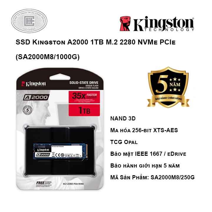 Ổ cứng SSD Kingston A2000 1TB M.2 2280 NVMe PCIe (SA2000M8/1000G)