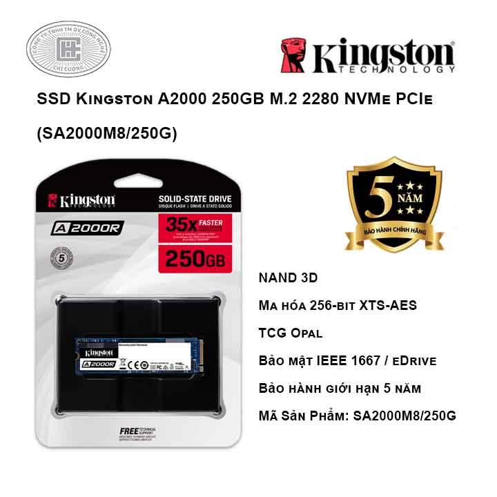 Ổ cứng SSD Kingston A2000 250GB M.2 2280 NVMe PCIe (SA2000M8/250G)