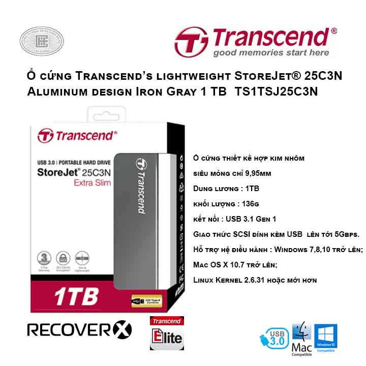 Ổ cứng Transcend's lightweight StoreJet® 25C3N 1TB Aluminum design Iron Gray TS1TSJ25C3N