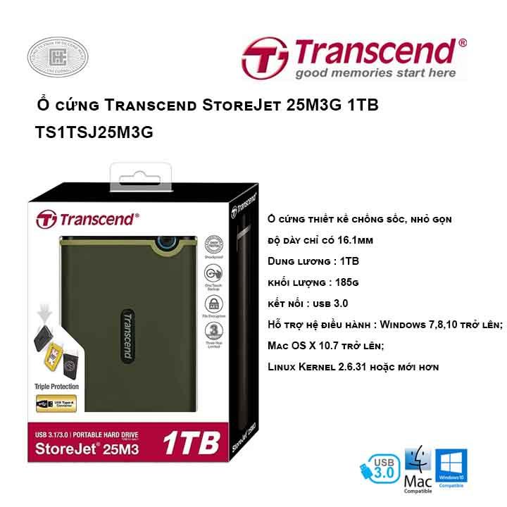 Ổ cứng Transcend StoreJet 25M3G 1TB TS1TSJ25M3G