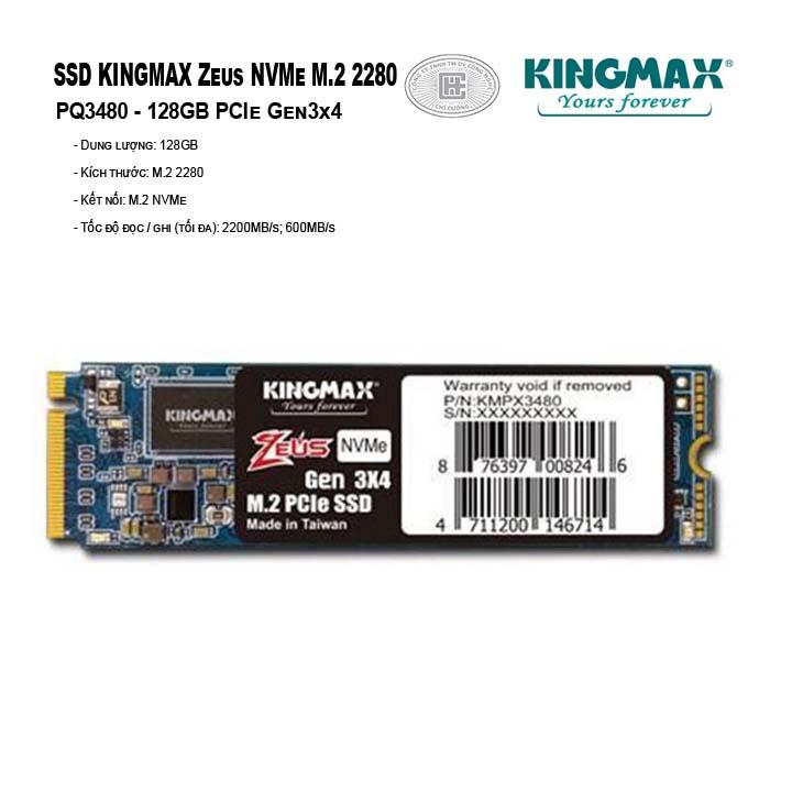ổ cứng SSD Kingmax M.2 2280 PCIe 128GB PQ3480 (Zeus- Gen3x4)