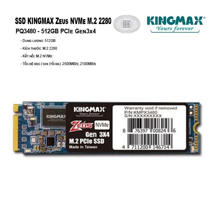 ổ cứng SSD Kingmax M.2 2280 PCIe 512GB PQ3480 (Zeus- Gen3x4)