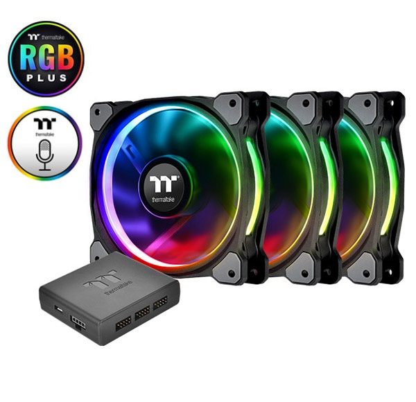 Quạt tản nhiệt THERMALTAKE New Pure Plus RGB 12 Radiator Fan TT Premium Edition  3Fan/Pack/12025/PWM 500~1500rpm/LED Software Control/Controler