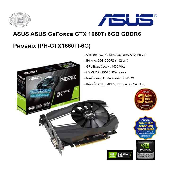 VGA ASUS GeForce GTX 1660Ti 6GB GDDR6 Phoenix (PH-GTX1660TI-6G)
