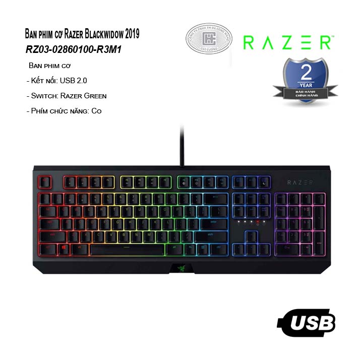 Bàn phím cơ Razer Blackwidow 2019 Green Switch - RZ03-02860100-R3M1