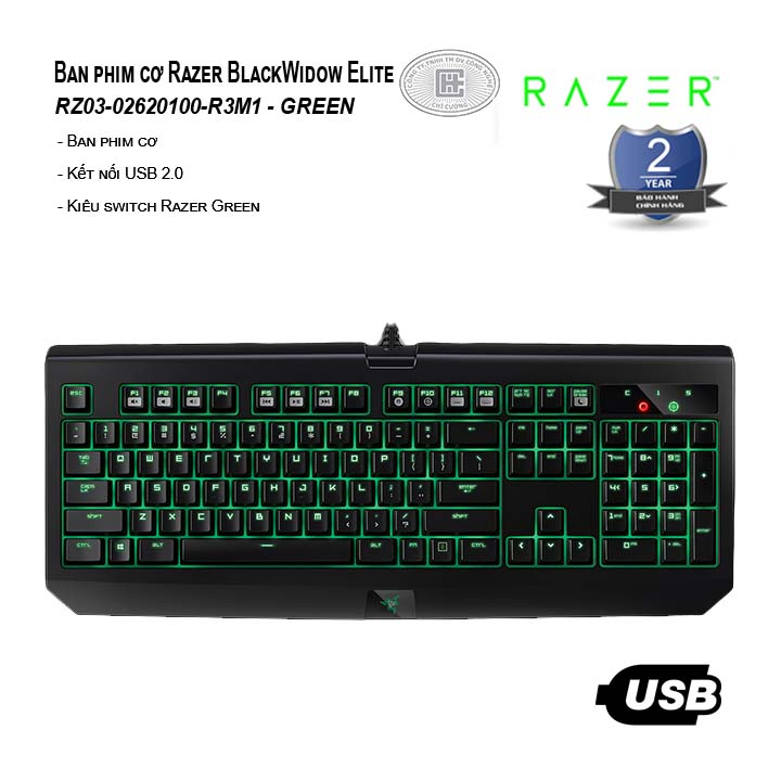 Bàn phím cơ Razer BlackWidow Elite - Green Switch (RZ03-02620100-R3M1)
