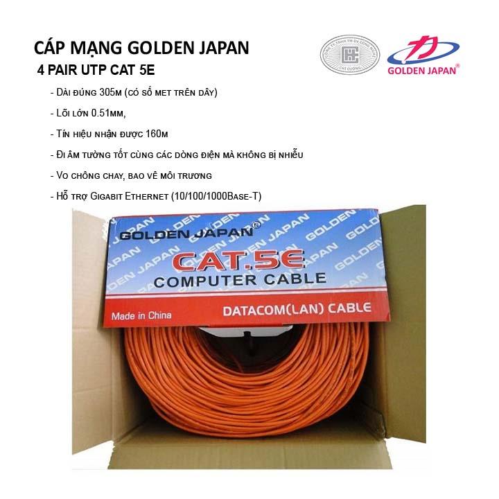 CÁP MẠNG GOLDEN JAPAN 4 PAIR UTP CAT 5E( Màu Cam,trắng)