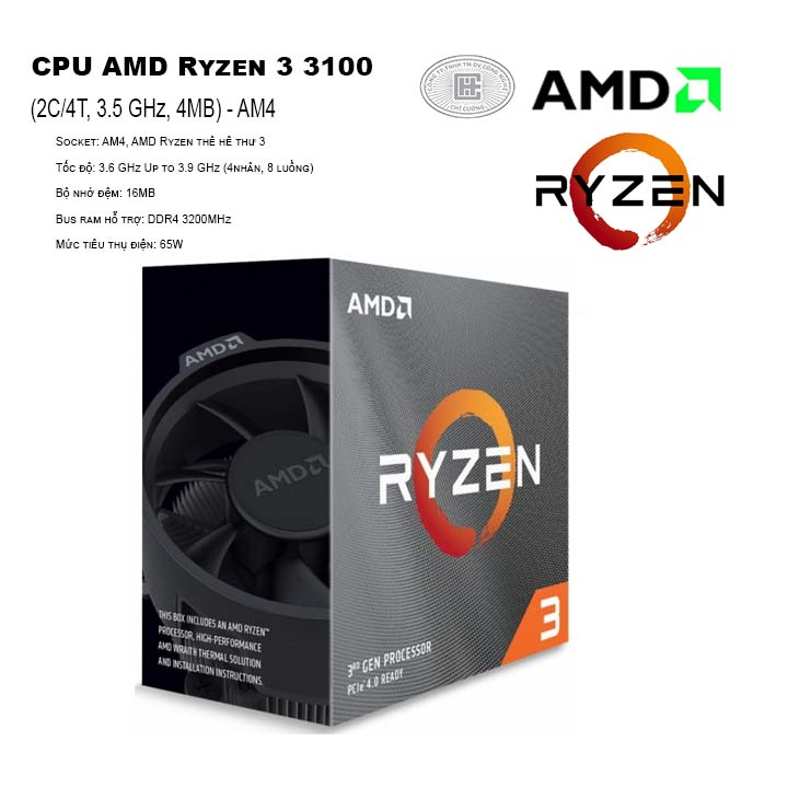 CPU AMD Ryzen 3 3100 (4C/8T, 3.6 GHz Up to 3.9 GHz, 16MB) - AM4