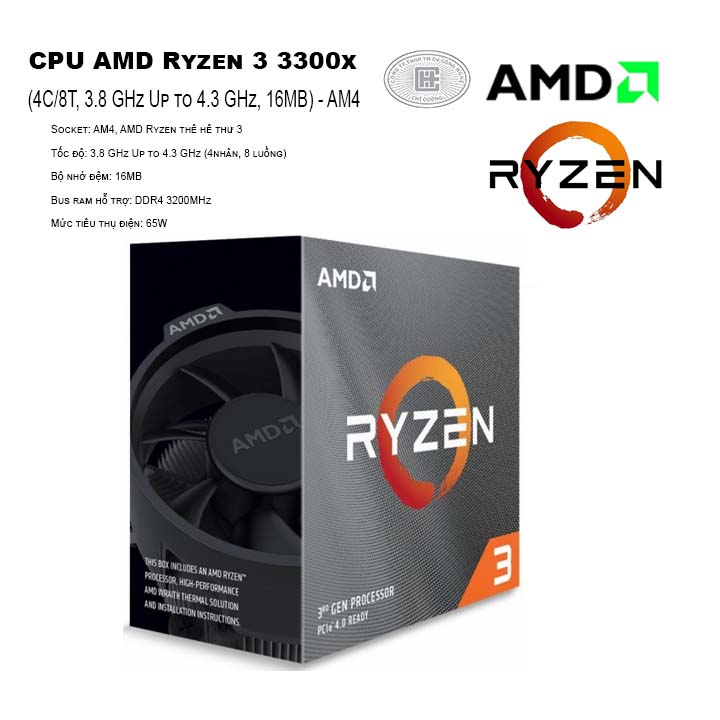 CPU AMD Ryzen 3 3300X (4C/8T, 3.8 GHz Up to 4.3 GHz, 16MB) - AM4