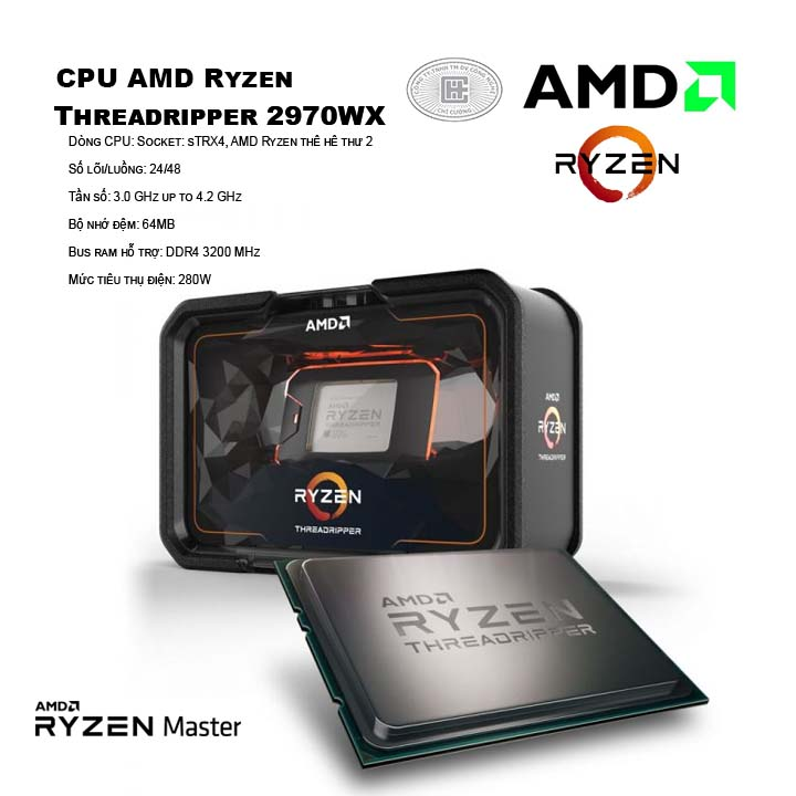 CPU AMD Ryzen Threadripper 2970WX (24C/48T, 3.0 GHz - 4.2 GHz, 64MB) - TR4