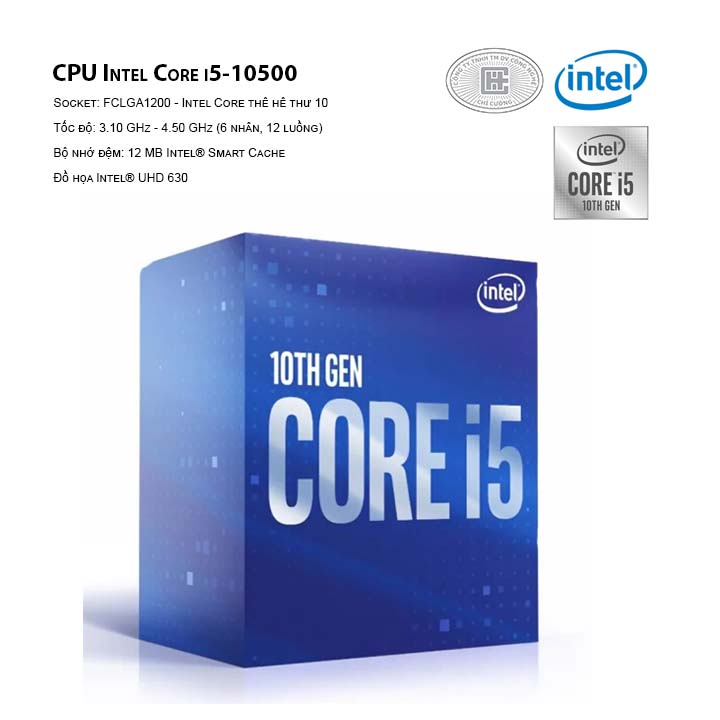 CPU Intel Core i5-10500 ( LGA 1120/3.10 GHz Up to 4.50 GHz/ 6C12T/ 12MB/ Comet Lake)