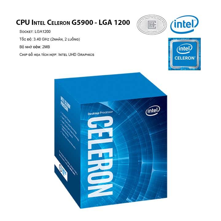 CPU Intel Celeron G5900 (3.4GHz, 2 nhân 2 luồng, 2MB Cache, 58W) - Socket Intel LGA 1200)