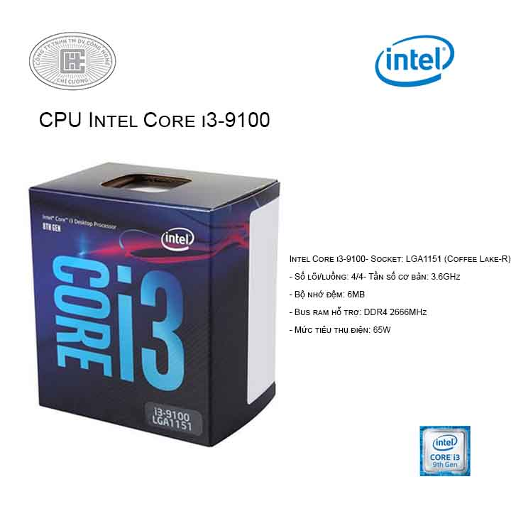 CPU Intel Core i3-9100 (3.7GHz/ 4C4T/ 6MB/ Coffee Lake-R)