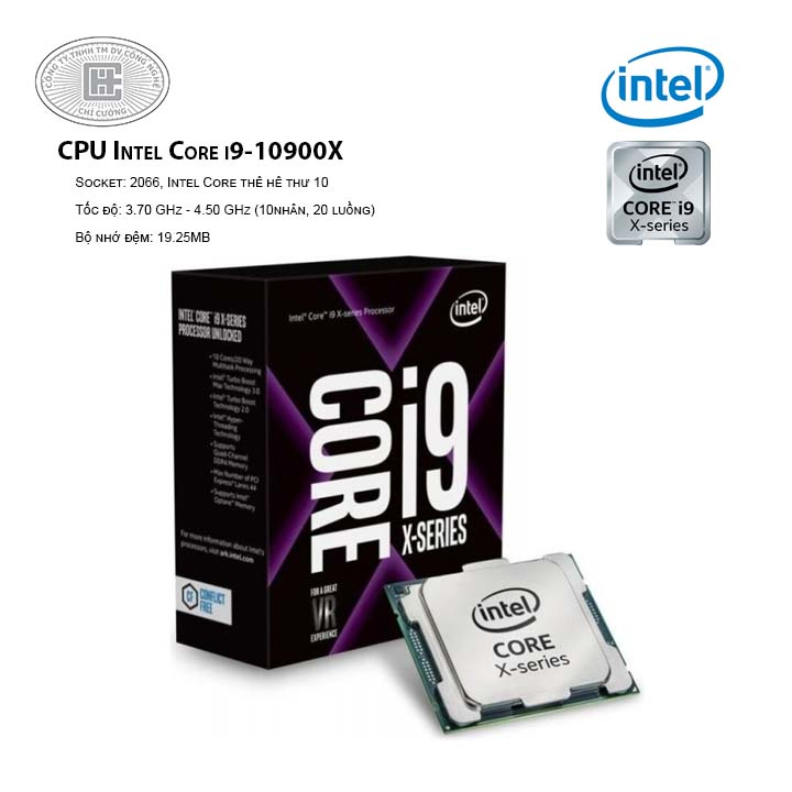 CPU Intel Core i9-10900X (3.7 GHz Up to 4.5 GHz/ 10C20T/ 19.25MB/ Cascade Lake)