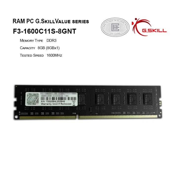 RAM PC G.SKILL NT - 8GB(8GBx1) DDR3 1600MHz - F3-1600C11S-8GNT