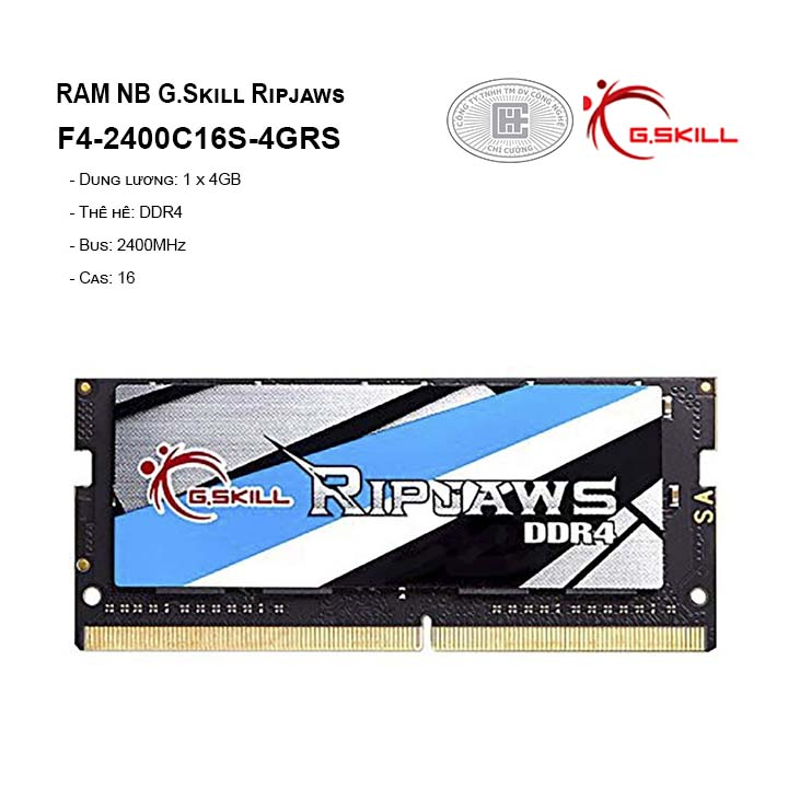RamG.skill Ripjaws - 4GB (1x4GB) DDR4 2400MHz For notebook F4-2400C16S-4GRS