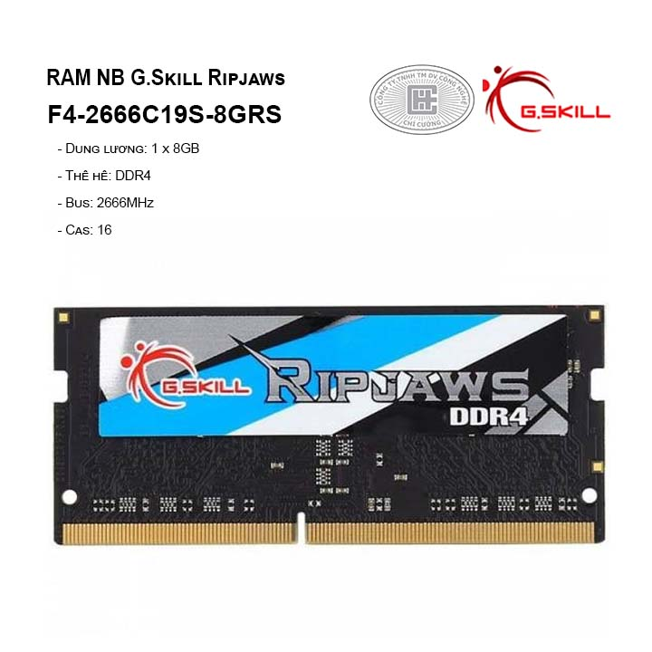 RAM G.skill Ripjaws - 8GB (1x8GB) DDR4 2666MHz (For notebook) F4-2666C19S-8GRS
