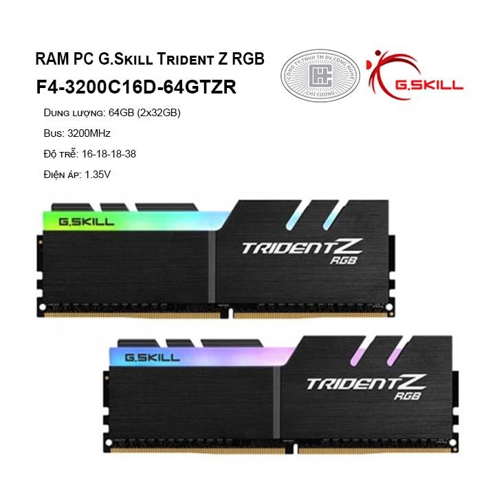 RAM G.Skill TRIDENT Z RGB 64GB (2x32GB) DDR4 3200MHz (F4-3200C16D-64GTZR)