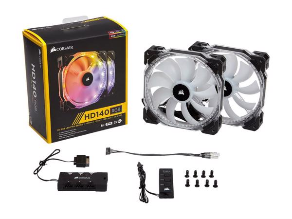 FAN FOR CPU CORSAIR - FAN HD 140 RGB LED - Hộp 2 FAN - with controller - CO-9050069-WW