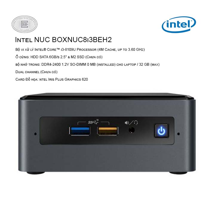 Máy tính bộ PC Intel NUC Kit BOXNUC8i3BEH2 ( Intel Core i3  8109U/ Intel Iris Plus Graphics 655 )