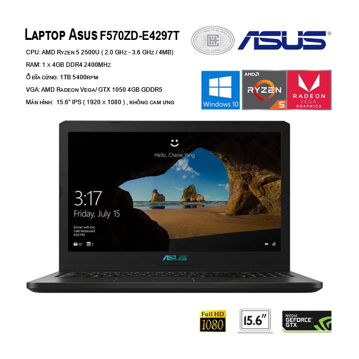 Laptop ASUS F570ZD-E4297T (Black)