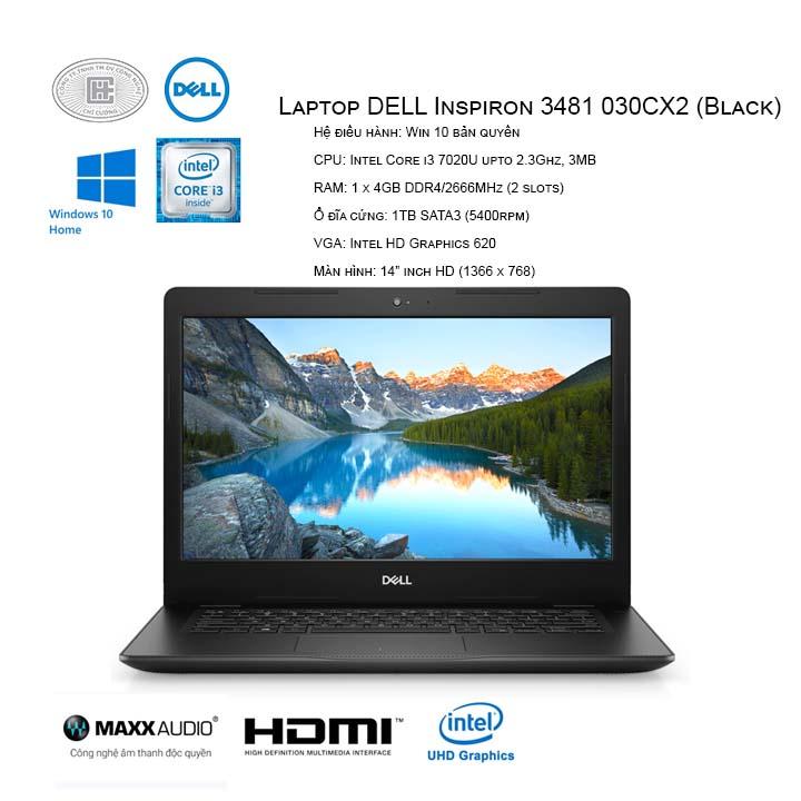 """Laptop DELL Inspiron 3481 030CX2 (Black) (14"""" HD/i3-7020U/4GB/1TB HDD/HD 620/Win10/1.7 kg)"""