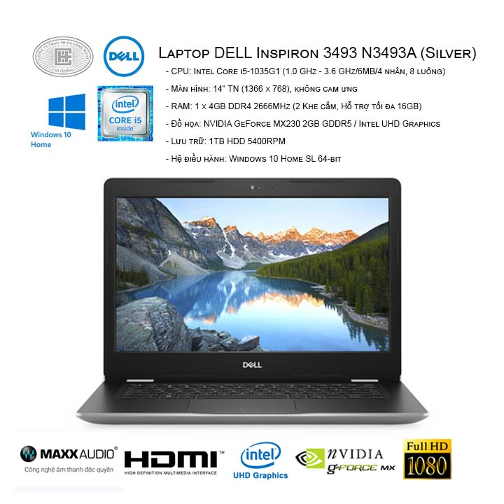Laptop DELL Inspiron 3493 N3493A (Silver) (14