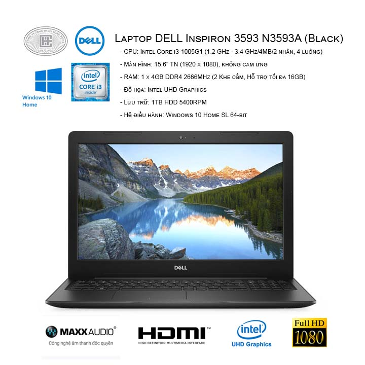Laptop DELL Inspiron 3593 N3593A (Black)  (15