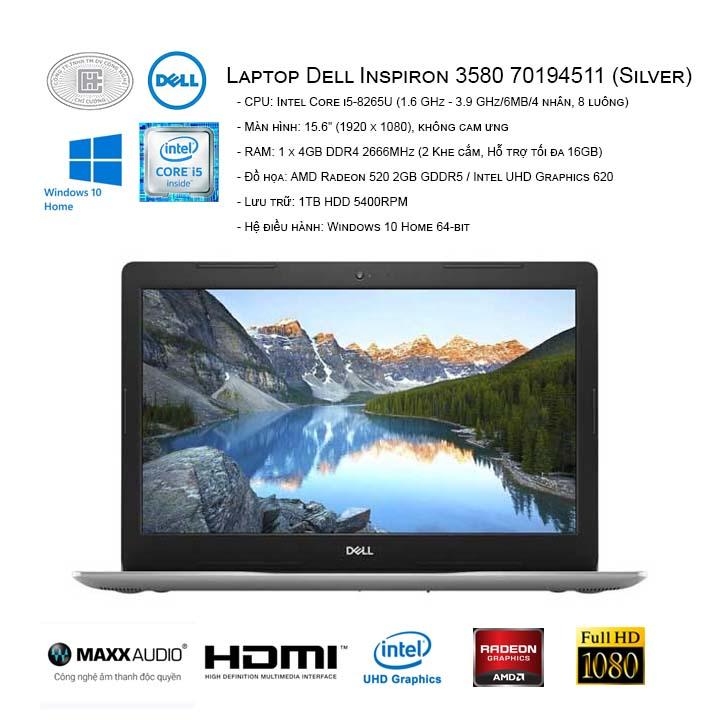 Laptop Dell Inspiron 3580 70194511 (Silver) (15