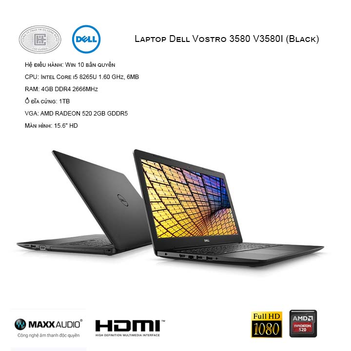 Laptop Dell Vostro 3580 V3580I (Black)