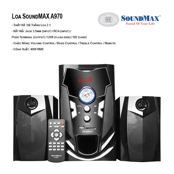 Loa bluetooth 2.1 SoundMAX A970 (Đen)