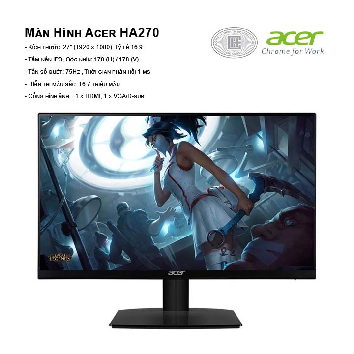 Màn hình Acer HA270 (Đen) (1920 x 1080/IPS/75Hz/1 ms