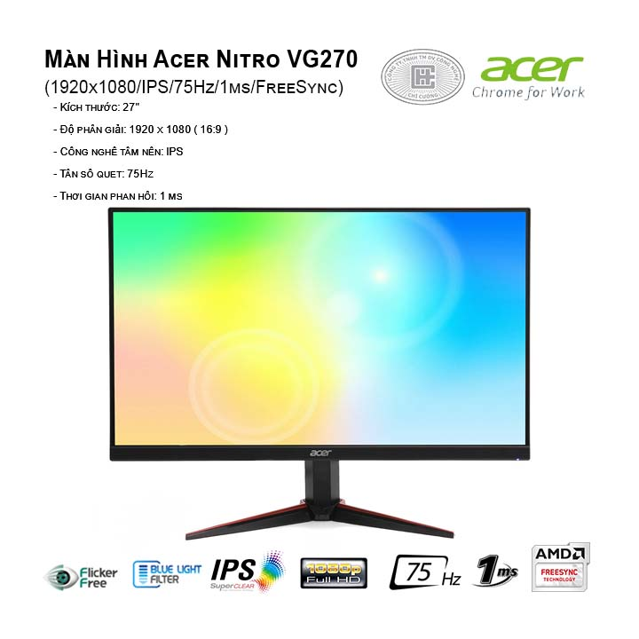 Màn Hình Acer Nitro VG270 (1920x1080/IPS/75Hz/1ms/FreeSync)