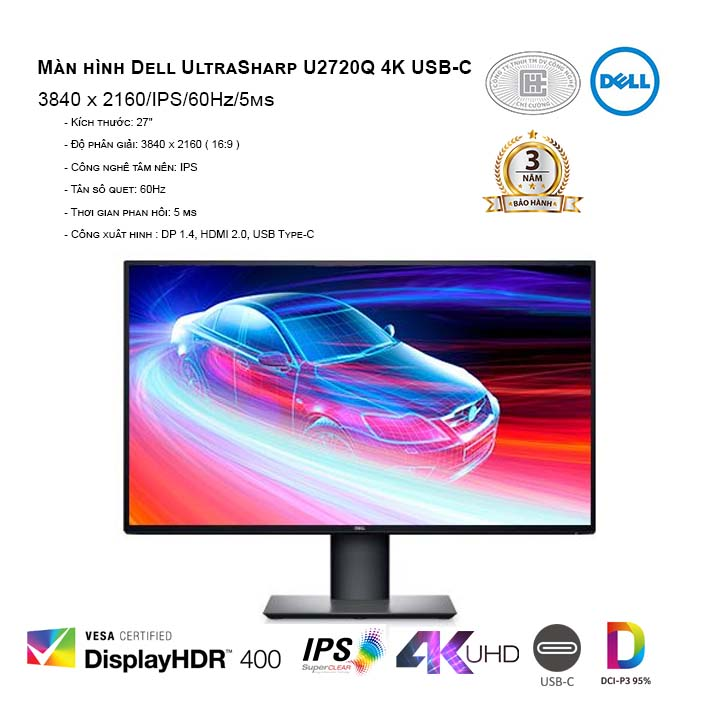 Màn hình Dell UltraSharp U2720Q 4K USB-C (3840 x 2160/IPS/60Hz/5ms)