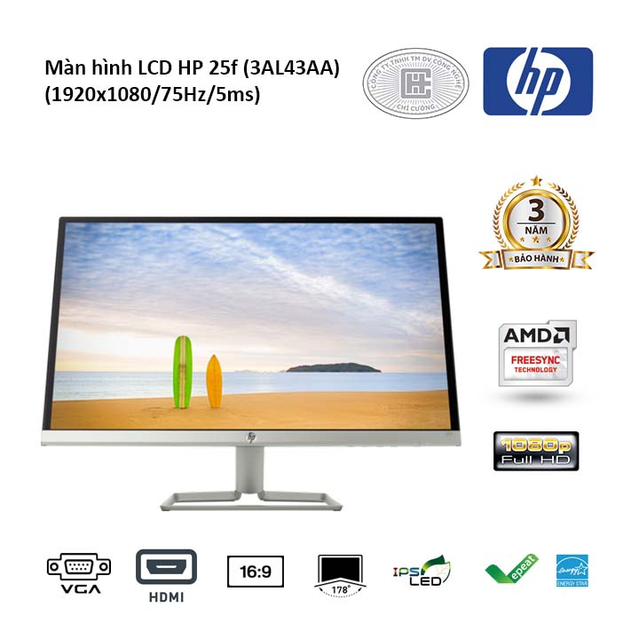 Màn hình LCD HP 25f 25 inches 3AL43AA (1920x1080/IPS/60Hz/5ms)