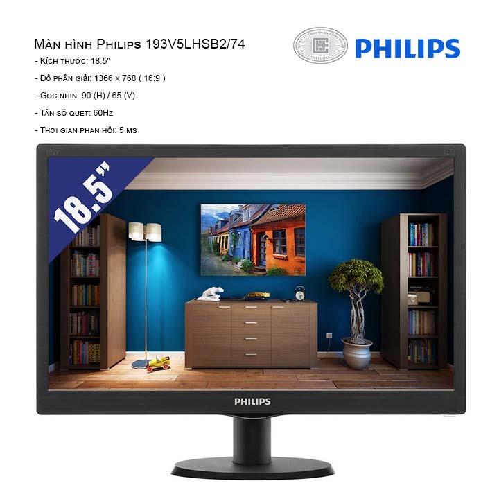 Màn Hình Philips 193V5LHSB2/74 (1366x768/60Hz/5ms)