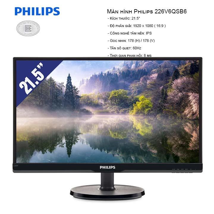 Màn Hình Philips 226V6QSB6 (1920x1080/IPS/60Hz/8ms)