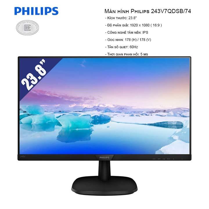 Màn Hình Philips 243V7QDSB/74 (1920x1080/IPS/60Hz/5ms)