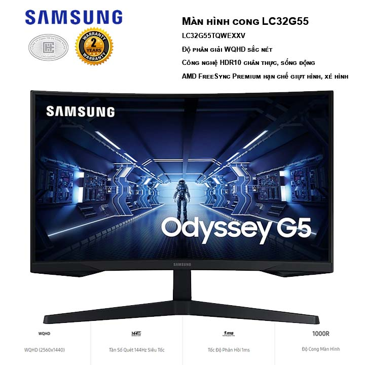 Màn hình Samsung Odyssey G5 LC32G55TQWEXXV WQHD 2K 144Hz 1ms HDR10 Freesync