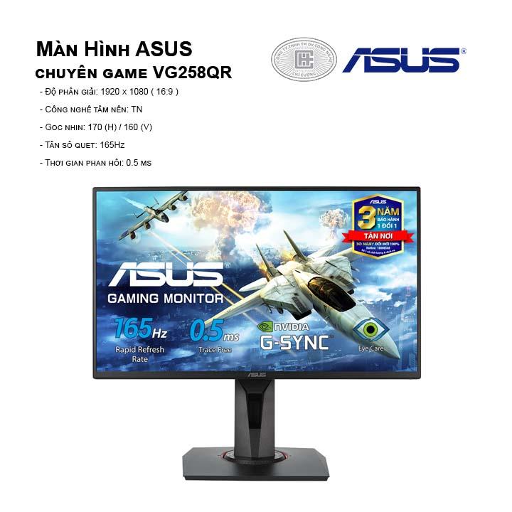Màn hình máy tính ASUS VG258QR (FullHD/TN/165Hz/0,5ms/G-SyncCompatible)