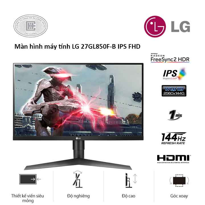 Màn Hình Máy Tính LG 27 inhces 27GL850-B.ATV (2560 x 1440/IPS/144Hz/1 ms/FreeSync)